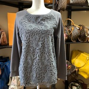 Adrianna Papell Front Lace Sweatshirt Sz Med